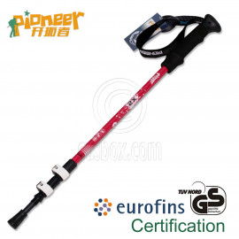 PIONEER Trekking Pole 65-135cm Fast Lock EVA Grip 7075 Aluminum Alloy Single RED