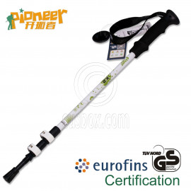 PIONEER Trekking Pole 65-135cm Fast Lock EVA Grip 7075 Aluminum Alloy Single WHITE