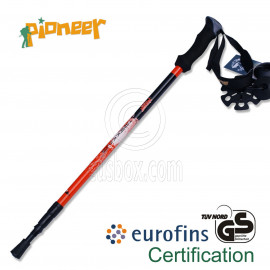 PIONEER Ultralight Carbon Trekking Pole Hiking Stick 3-Sections 65-135 cm Single RED