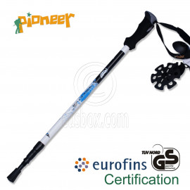 PIONEER Ultralight Carbon Trekking Pole Hiking Stick 3-Sections 65-135 cm Single BLUE