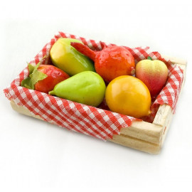 Fruit Food Peach Wood Box Container Dollhouse Miniature