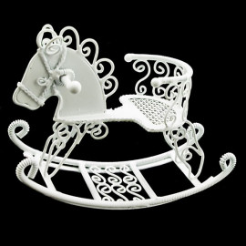 White Wire Nursery Rocking Horse Dollhouse Miniature