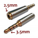 Gold 3.5mm Male to 2.5mm Female Stereo Mic Audio Earphone Jack Adapter Converter
