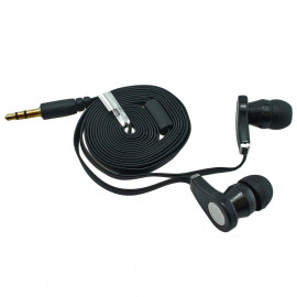 Black 3.5mm In-Ear Earphone Headphone Earbud Headset Flat Tangle Free Cable Cord