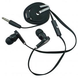 Black 3.5mm In-Ear Earphone Headphone Earbuds Microphone Flat Tangle Free Cable