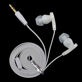 White 3.5mm In-Ear Earphones Headphones Earbuds Headset Flat Tangle Free Cable