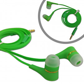 Green 3.5mm In-Ear Earphone Headphone Earbuds Flat Tangle Free Cable for iPod