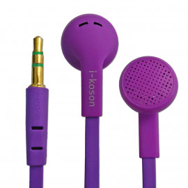 Purple 3.5mm Earphone Headphone Earbud Headset Flat Tangle Free Cable Y-Cord New