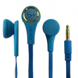 3.5mm Stereo In-Ear Earphones Headphones Earbuds Headset Flat Tangle Free Cable[Blue]