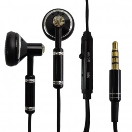 Black 3.5mm Metal In-Ear Mic Headphone Earbuds Headset for Android Phone Apple iPhone