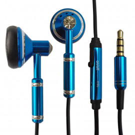 Blue 3.5mm Metal w Mic Headphone Earbuds Headset for Android Phone Apple iPhone