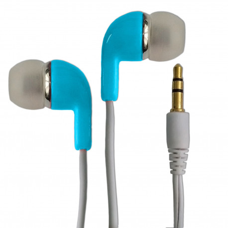 Sky Blue 3.5mm 2M 2 Meters Long In-Ear Thick Cable Earbuds Headphones Earphones