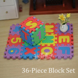 36 Alphabet Blocks Floor Pad Mat Foam Play Puzzle 1:6 Barbie Monster High Doll's