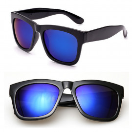 Black Frame Blue Mirror Reflective Lens Women's Men's Wayfarer Style Sunglasses
