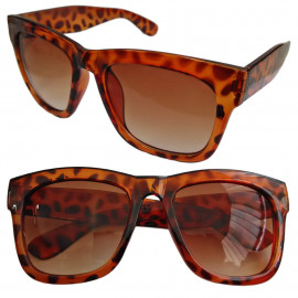 Cheetah Leopard Frame Brown Lens Women's Men's Wayfarer Designer Flat Sunglasses