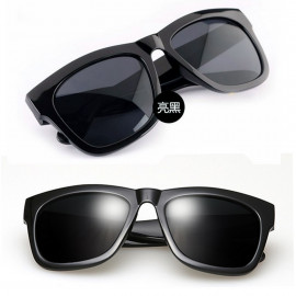 Bright Black Frame Women's Men's Wayfarer Flat Style Shades Designer Sunglasses