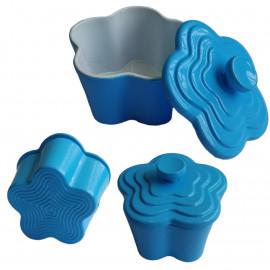 Sky Blue Enameled Cast Iron Cookware Pot 1/12 Doll's House Dollhouse Miniature