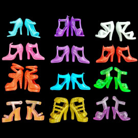 Mixed Lot Set 12 x Fashion Party High Heel Shoes Sandals Boots for Barbie Dolls
