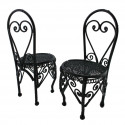 Pair 2x Black Wire Round Coffee Cafe Chair 1/12 Doll's House Dollhouse Furniture