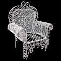 White Metal Wire Single Armchair Arm Chair 1/12 Doll's House Dollhouse Furniture
