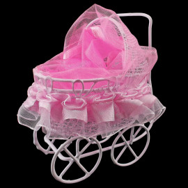 White Pink Wire Nursery Baby Stroller Pram 1:12 Doll's House Dollhouse Furniture