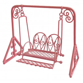 Pink Metal Garden Swing Rocking Hanging Chair 1/16 Doll's Dollhouse Furniture