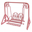 Pink Metal Garden Swing Rocking Hanging Chair 1/16 Doll's Dollhouse Furniture