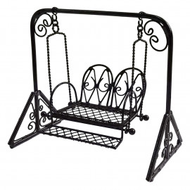 Black Metal Garden Swing Rocking Hanging Chair 1/16 Doll's Dollhouse Furniture