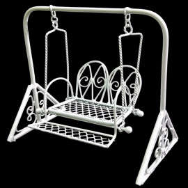 White Metal Garden Swing Rocking Hanging Chair 1:16 Doll's Dollhouse Furniture