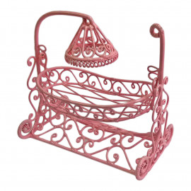 Pink Wire Nursery Baby Cradle Swing Crib 1:12 Doll's House Dollhouse Miniature