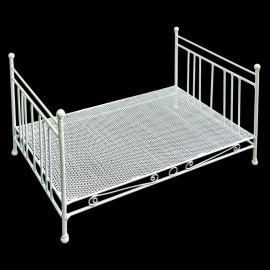 White Metal Wire Bedroom Double Bed Poster 1:12 Doll's House Dollhouse Furniture