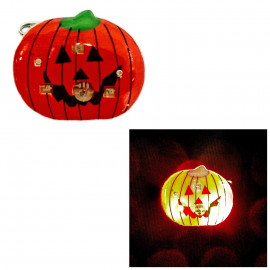 LED Glowing Flash Pumpkin Brooch Pin for Music Concert Night Party Halloween