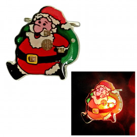 Santa Claus Christmas LED Glowing Flash Brooch Pin for Music Concert Night Party
