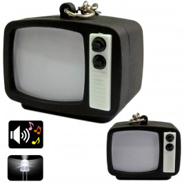 Black Classical Television TV for Barbie Blythe Doll's House Miniature Key Ring