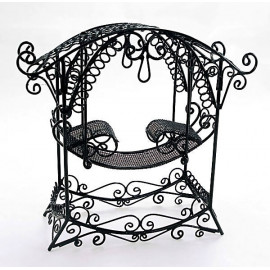 Black Wire Rocking Chair Bench Seat Dollhouse Furniture