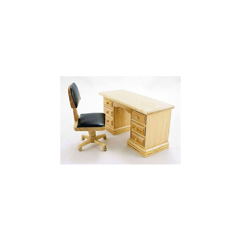 Wooden Office Desk Chair Drawer Dollhouse Furniture Set
