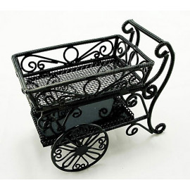 Black Metal Wire Food Wine Cart Car Dollhouse Furniture