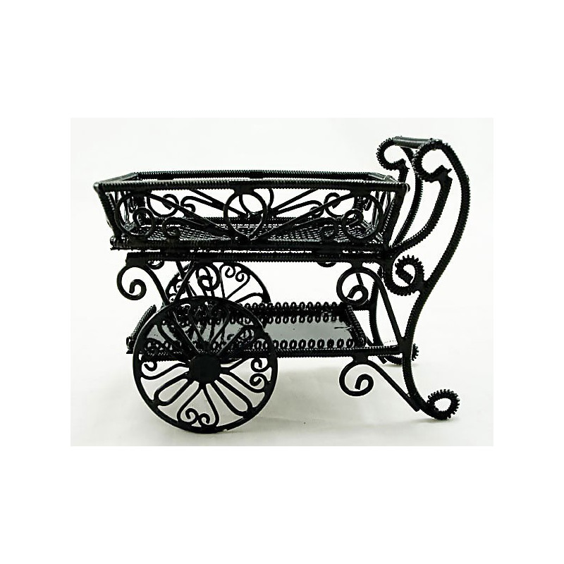 Metal Wire Food Wine Cart Car Dollhouse Furniture