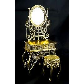 Golden Wire Makeup Desk Chair Dollhouse Furniture Set