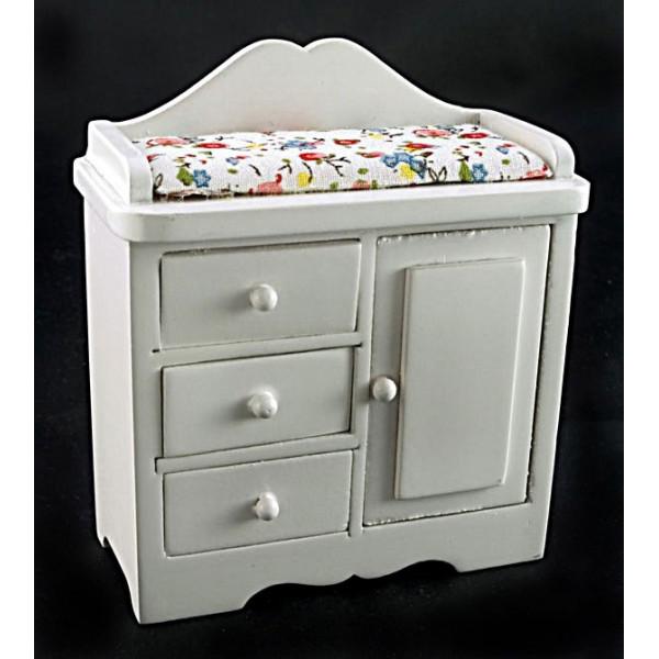 ... Furnitures > White Nursery Baby Dresser Changer Dollhouse Furniture
