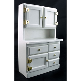 White Wood Kitchen Cabinet w Drawer Dollhouse Furniture