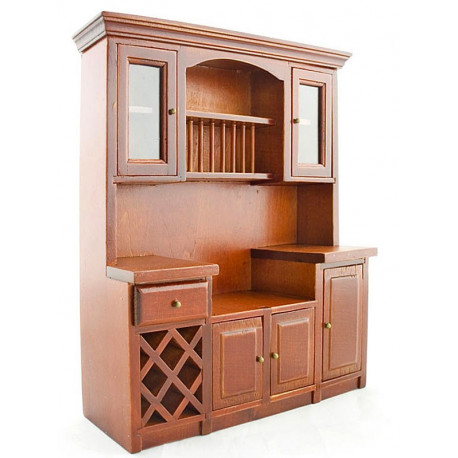 Kitchen Vintage Walnut Wood Cabinet Dollhouse Furniture
