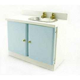Blue Kitchen Sink Bowl w Faucet Dollhouse Furniture