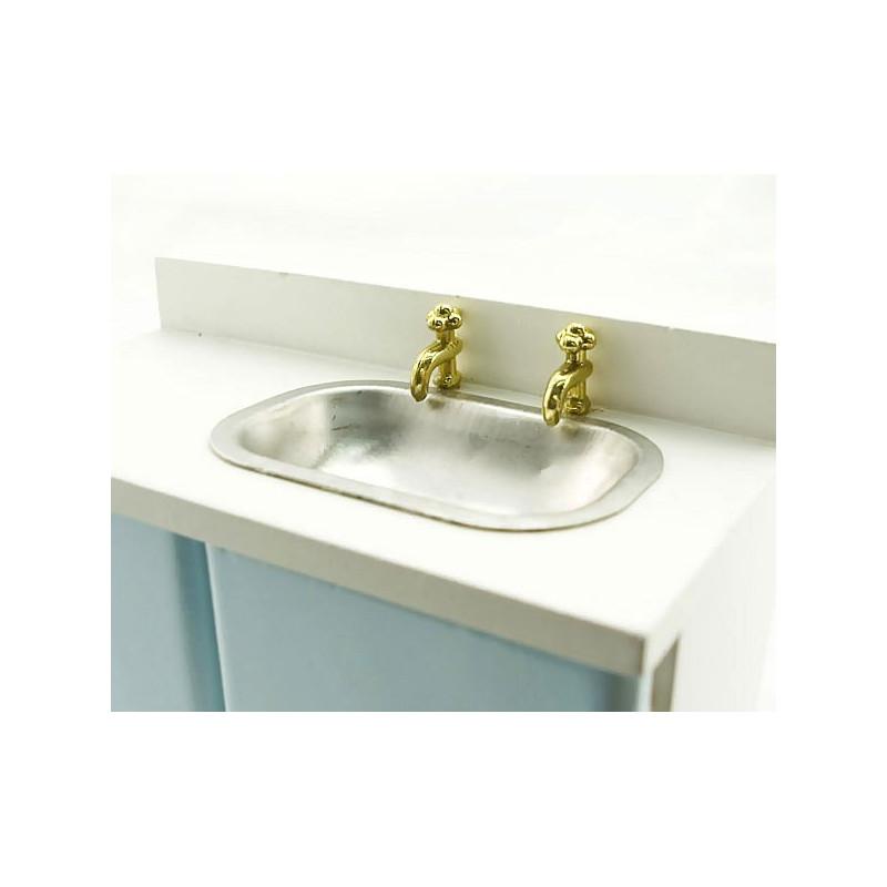 blue kitchen sink bowl w faucet dollhouse furniture
