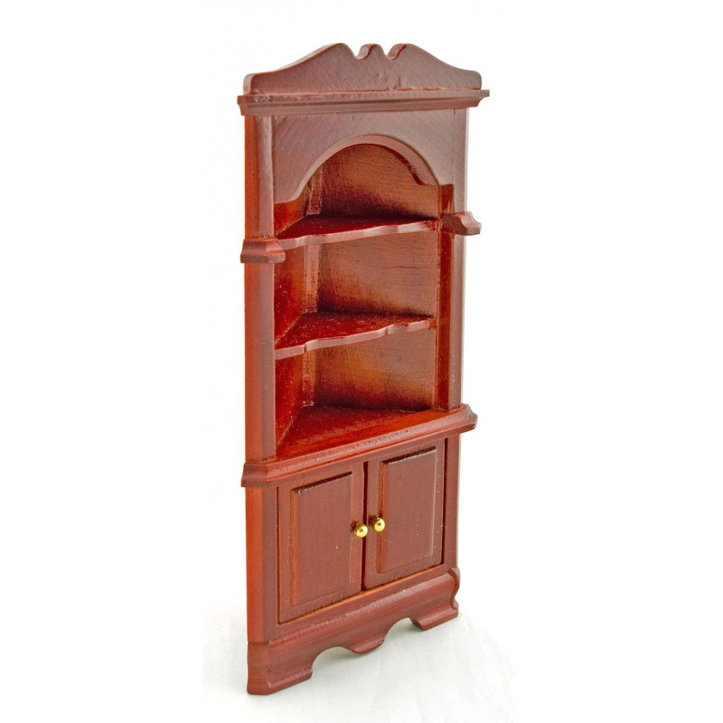 Red Wood Triangle Corner Cabinet Dollhouse Furniture