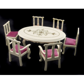 White Pearl Queen Anne Table Chair Dollhouse Furniture