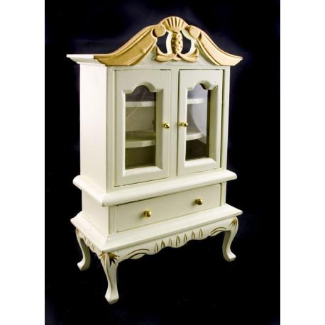 White Pearl Queen Anne Leg Bookcase Dollhouse Furniture