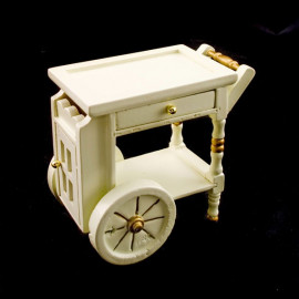White Pearl Food Wine Cart Drawer Dollhouse Furniture