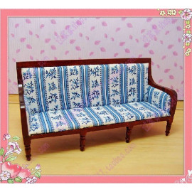 Mahogany 3 Blue Seater Fabric Sofa Dollhouse Furniture