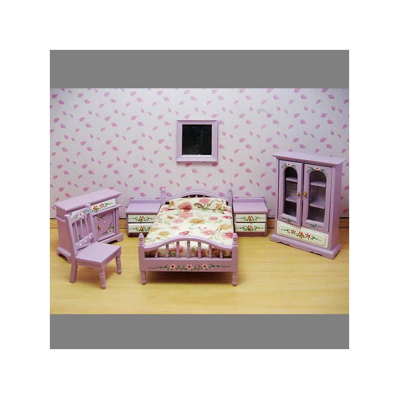 Purple Nursery Baby Bed Armoire Dollhouse Furniture Set